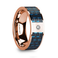 DENNAR Black Blue Carbon Fiber Inlay Rose Gold Ring with Diamond, 14K, Flat
