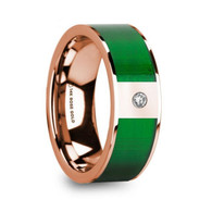FIRCREST Textured Green Inlay Rose Gold Ring with Diamond, 14K