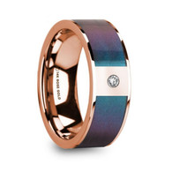 HALEIWA Color Changing Purple Blue Inlay Rose Gold Band with White Diamond