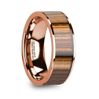 GRIGSBY Zebra Wood Inlay 14K Rose Gold Ring, Flat, Polished Edges