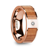 HADDON Red Oak Wood Inlay Rose Gold Ring with Diamond, 14K, Flat
