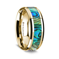 CAPSHAW Mother of Pearl Inlay Yellow Gold Wedding Ring, 14K, Beveled Edges