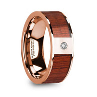 GLENWOOD Padauk Wood Inlay Rose Gold Ring with Diamond, 14K, Flat