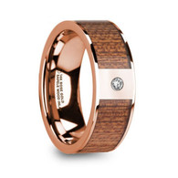 ELDERON Sapele Wood Inlay Rose Gold Engagement Ring with Diamond, 14K
