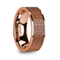 EMBRY Sapele Wood Inlay 14K Rose Gold Wedding Band, Flat