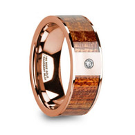 DONNAN Mahogany Wood Inlay Rose Gold Wedding Band with Diamond, 14K