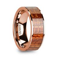 GARWIN Mahogany Wood Inlay 14K Rose Gold Ring, Wedding Band