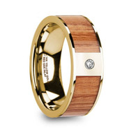 IRONWOOD Red Oak Wood Inlay Yellow Gold Ring with White Diamond, 14K