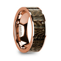 HALSTEAD Brown Dinosaur Bone Inlay Rose Gold Ring, 14K, Flat