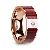 KINWOOD Purpleheart Wood Inlay Rose Gold Ring with Diamond, 14K