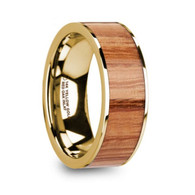 FANWOOD Red Oak Wood Rose Gold Wedding Ring, 14K, Flat