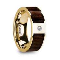 FLEMING Black Walnut Inlay Yellow Gold Wedding Band with Diamond, 14K