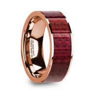 HANCOCK Purpleheart Wood 14K Rose Gold Wedding Ring, Flat, Polished Edges