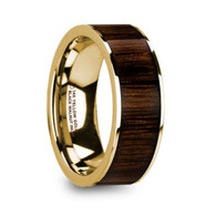 HALLOCK Black Walnut Inlay Gold Ring, 14K, Flat, Polished Edges