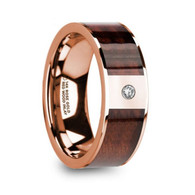 LASKER Red Wood Inlay Rose Gold Ring with White Diamond, 14K