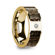 BROCKTON Brown Dinosaur Bone Gold Ring with White Diamond, 14K