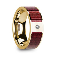 HARTWOOD Purpleheart Wood Yellow Gold Ring with White Diamond, 14K