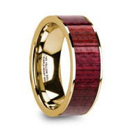BOVARD Purpleheart Wood 14K Yellow Gold Wedding Band, Engagement Ring