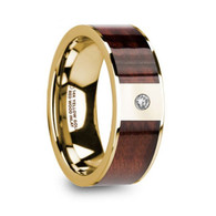 HALWOOD Red Wood Inlay Yellow Gold Ring with White Diamond, 14K, Flat