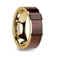 GORIN Red Wood Inlay Gold Wedding Band, 14K, Flat, Polished Edges