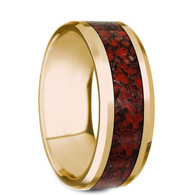 HAMMOND Red Dinosaur Bone Inlay Yellow Gold Ring, 14K, Beveled