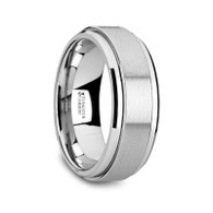 COVINO Flat Tungsten Carbide Spinner Ring with Raised Center