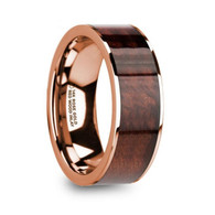 BOWIE Red Wood Inlay 14K Rose Gold Wedding Ring, Flat