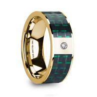 GAMMA Green Black Carbon Fiber Yellow Gold Ring with Diamond, 14K