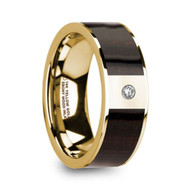 DAGMAR Exotic Ebony Wood 14K Yellow Gold Wedding Band