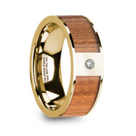 ELWOOD Real Sapele Wood Inlay Yellow Gold Ring with Diamond, 14K
