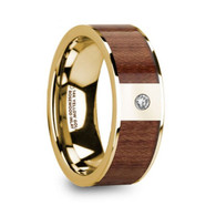 LENWOOD Authentic Rose Wood Gold Ring with Diamond, 14K
