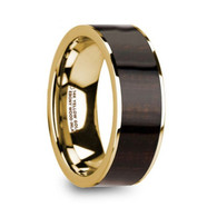 GILCREST Real Ebony Wood Inlay 14K Yellow Gold Ring, Flat