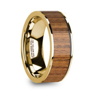 DRIFTWOOD Real Teak Wood Inlay Yellow Gold Wedding Band, 14K, Flat