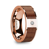 HARWOOD Authentic Rosewood Rose Gold Ring with Diamond, 14K