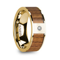 DRYDOCK Exotic Teak Wood Gold Wedding Ring with White Diamond, 14K