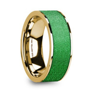 FORADA Textured Green Inlay 14K Gold Ring, Flat, Polished Edges