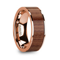 CYRENE 100% Authentic Rosewood Inlay Rose Gold Ring, 14K