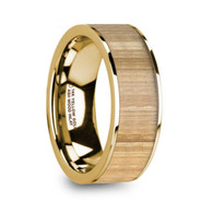 HURLOCK Ash Wood Yellow Gold Flat Wedding Ring, 14K