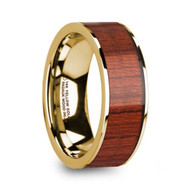 BRIARWOOD Padauk Wood 14K Yellow Gold Wedding Band, Flat