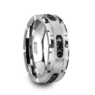 DUCOR Black Diamond Grooved Edge Tungsten Ring, Brushed