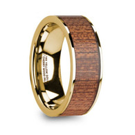 HOSMER 100% Real Cherry Wood Inlay 14K Yellow Gold Band