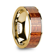 DOGWOOD Exotic Mahogany Wood Inlay 14K Yellow Gold Ring