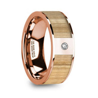 FAYWOOD Ash Wood Inlay 14K Rose Gold Ring with White Diamond
