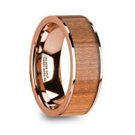 INWOOD Cherry Wood Inlay 14K Rose Gold Wedding Ring, Flat