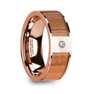 HAZEN Rare Cherry Wood Inlay 14K Rose Gold Ring with Diamond