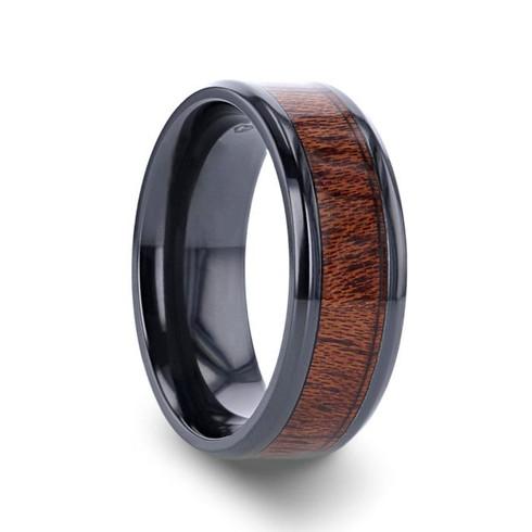 Rare Mahogany Hard Wood Inlay Black Titanium Ring, Beveled Edges - Image View 1
