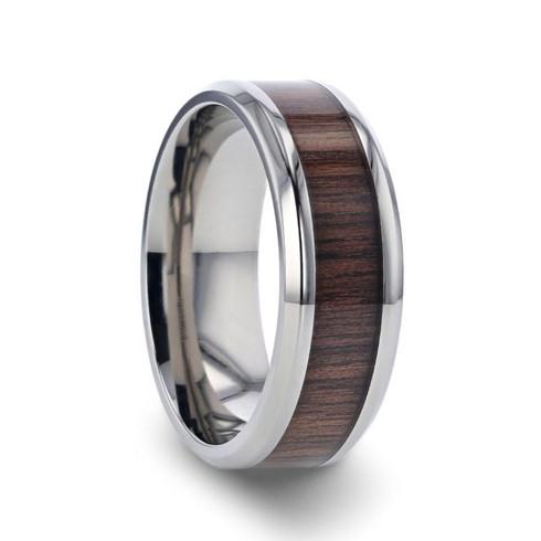 Handsome Black Walnut Wood Inlay Silver Titanium Ring, Beveled - Image View 1