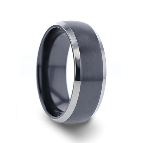 Domed Black Titanium Wedding Band, Silver Beveled Edges - Image View 1