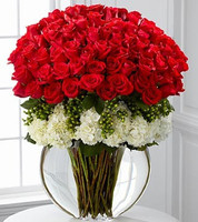 75 Long Stem Premium Roses with White Hydrangeas and Green Hypericum