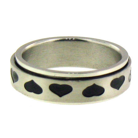 •Highly polished stainless steel black hearts spinner ring. •Center ring manually spins!! •Approx. Top Width: 5mm •Appprox. Weight: 4.2 grams •Available in sizes: 6 - 12